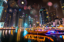 Firework Display At Dubai Mari...