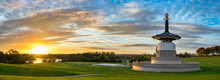 Panorama Of Peace Pagoda Temple At Sunrise In Willen Park, Milton Keynes, UK