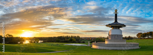 Panorama of Peace Pagoda temple at sunrise in Willen Park, Milton Keynes, UK Canvas Print