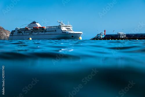 Obraz na plátně Huge ferry boat on Tenerife island.