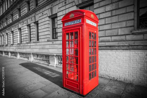 Red telephone booth isolated isolated on black and white