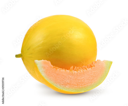 Yellow sweet melon isolated on white background