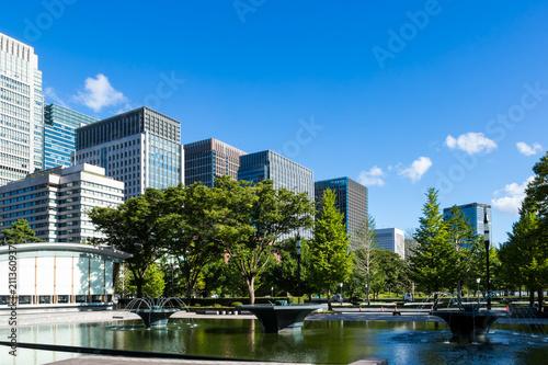 Photo (東京都ー都市風景)和田倉噴水公園から見る丸の内ビル群1