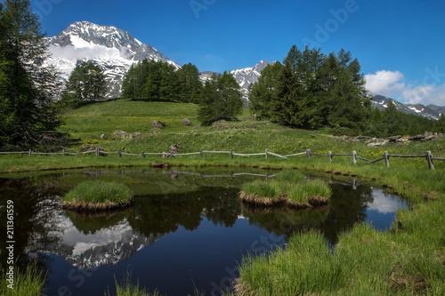 Poster Reflexion Mont Pourri se reflétant au hameau du Monal , en haute Tarentaise dans les Alpes