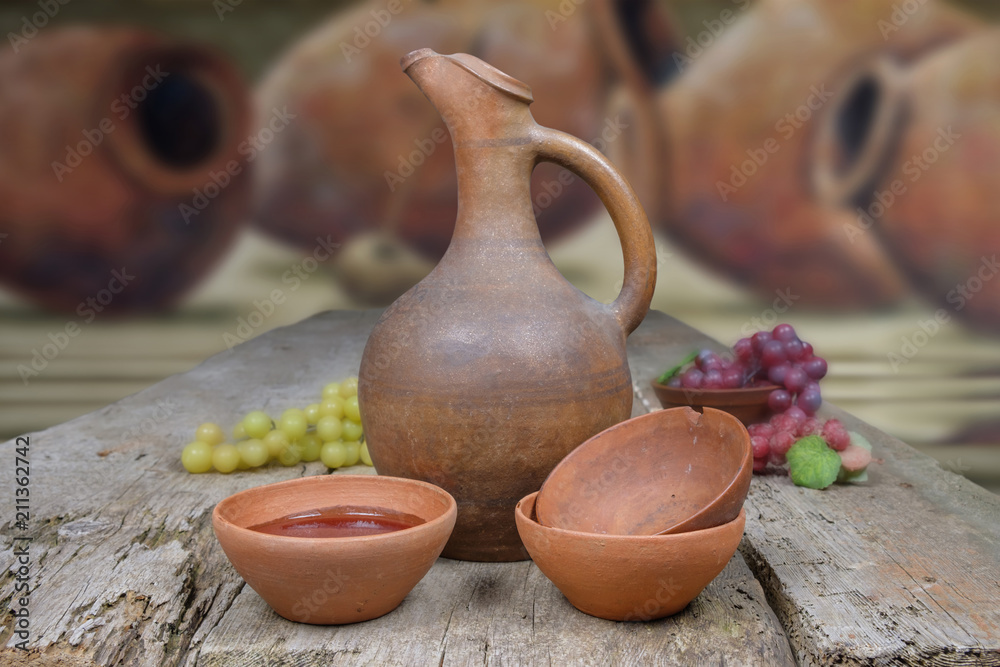 Fototapety, obrazy: wine jug and cups