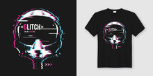 Stylish T-shirt And Apparel Trendy Design With Glitchy Flight He