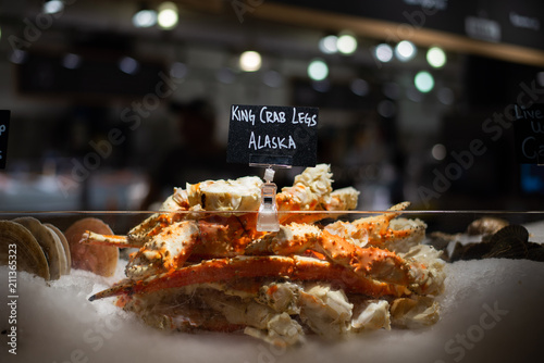 Alaskan king crab legs sold at Chelsea Market, New York City