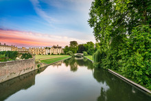 Cam River Near Kings College At Sunset In Cambridge,UK
