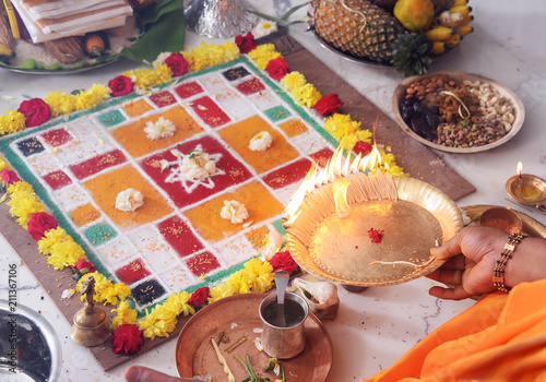 Indian Traditional Pooja with Chakra decoration