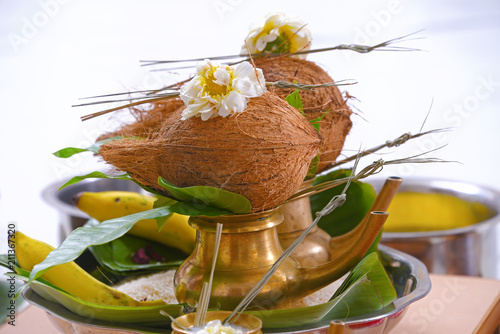 Indian Traditional Concept,  with Kalash coconut