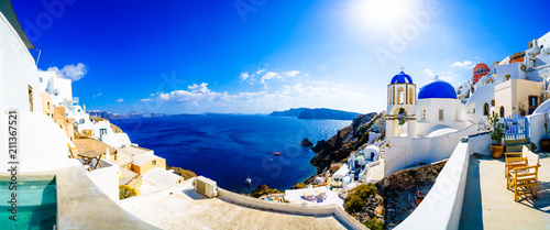 Fotobehang Santorini Panorama of Oia. Blue domes and aegean sea.Santorini.Greece