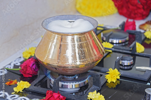 Boiling the Milk for Indian Traditional Housewarming