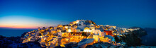 Panoramic View Of Oia Town Before Sunrise, Santorini Island, Greece