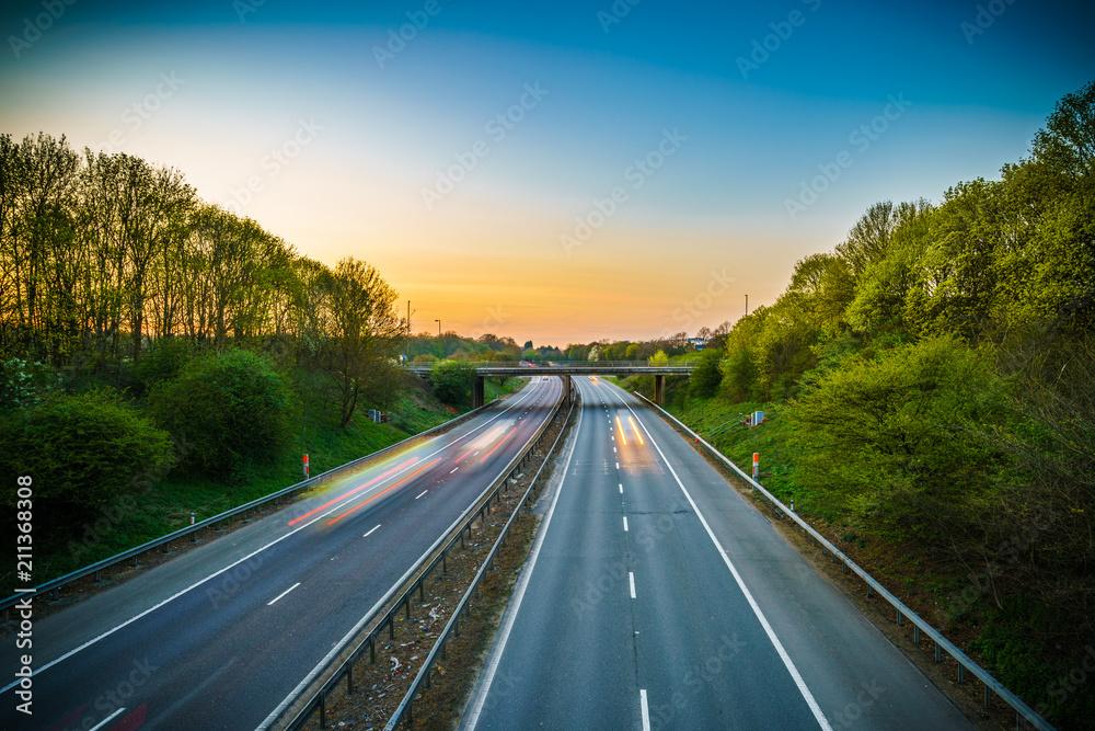 Fototapety, obrazy: A1(M) motorway near Stevenage junction at sunset. United Kingdom
