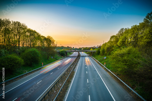 Εκτύπωση καμβά A1(M) motorway near Stevenage junction at sunset. United Kingdom