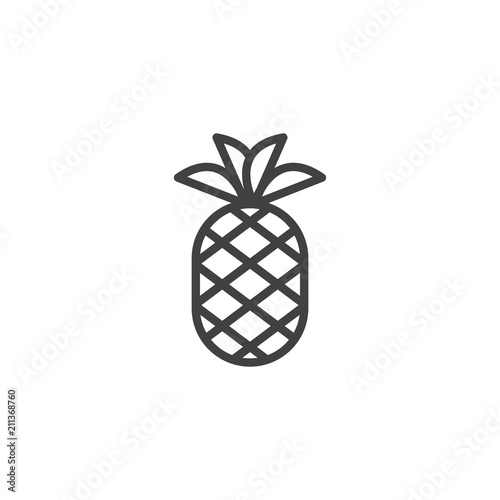 Pineapple With Leaves Outline Icon Linear Style Sign For