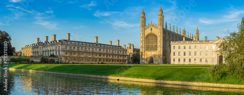 Panorama of college in Cambridge, UK Canvas Print