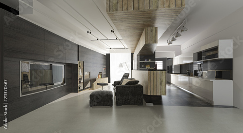 Papiers peints Retro 3d rendering wood modern living room and dining room