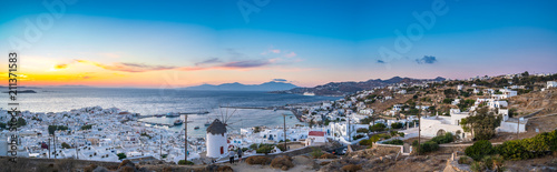 Poster Mediterranean Europe Panoramic view over Mykonos town at sunset