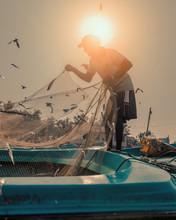 Silhouette Of A Fisherman In Sri Lanka