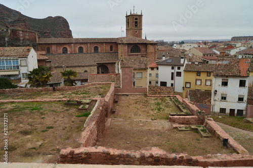 View Of The Church Of The Cross Of Najera From The Height Of Its Ancient Castle Completely Removed. Architecture, Travel, History. December 26, 2015. Najera. The Rioja. Spain.