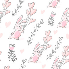 Tapeta Seamless pattern with bunnies and hearts