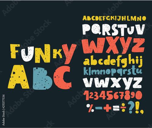 Fotografía Hand draw doodle abc, alphabet grunge scratch type font vector illustration