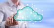 Leinwandbild Motiv Man touching a cloud networking concept