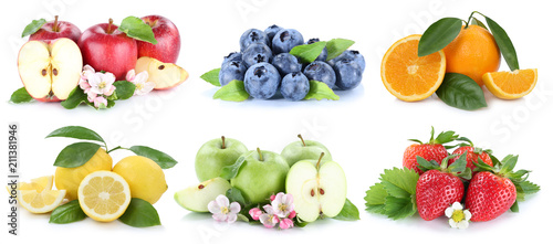 Früchte Apfel Orange Orangen Erdbeere Collage Freisteller