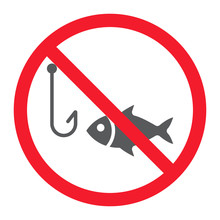 No Fishing Glyph Icon, Prohibition And Forbidden, No Fish Sign Vector Graphics, A Solid Pattern On A White Background, Eps 10.