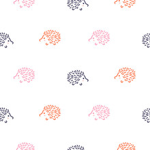 Cute Baby Hedgehogs Seamless Vector Pattern. Simple Childish Forest Animals Fabric Print Background.