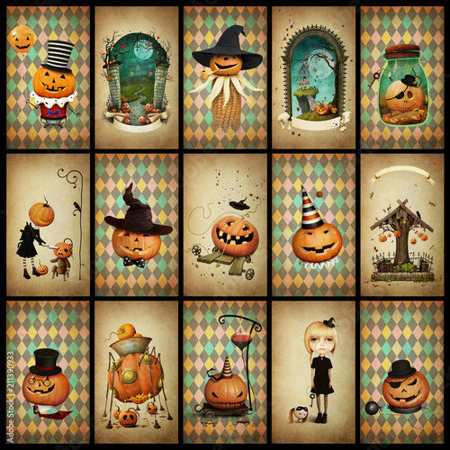 Collection of vintage grunge cards for holiday  Halloween Poster