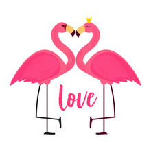 Cute Pink Flamingo In Love Bac...