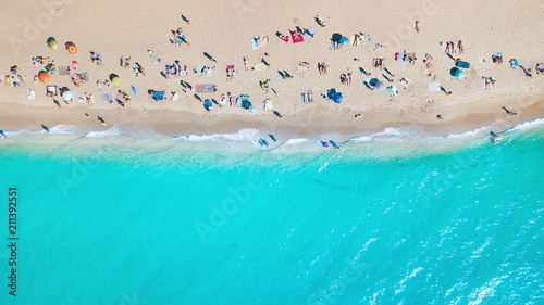 Spoed Foto op Canvas Turkoois Aerial view at the beach. Beautiful natural seascape at the summer time
