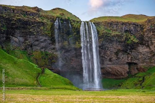 Photo sur Toile Vert Selyalandfoss waterfall in Iceland