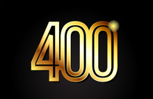 Gold Number 400 Logo Icon Design