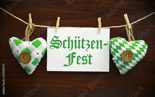Stoffherzen mit Schild Schützenfest Volksfest Schützenverein
