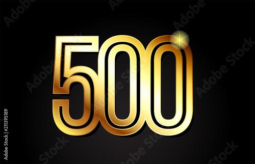 Fotografia  gold number 500 logo icon design