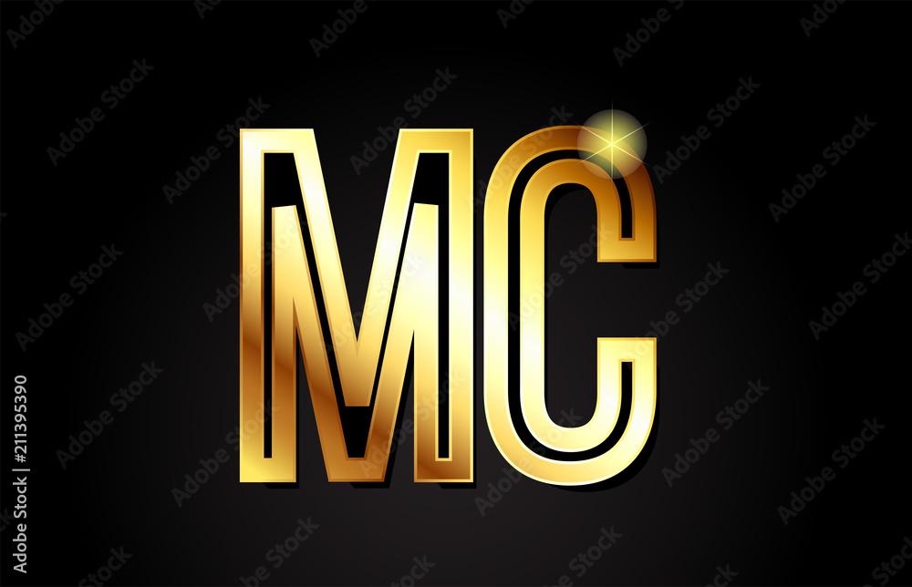 Fototapeta gold alphabet letter mc m c logo combination icon design