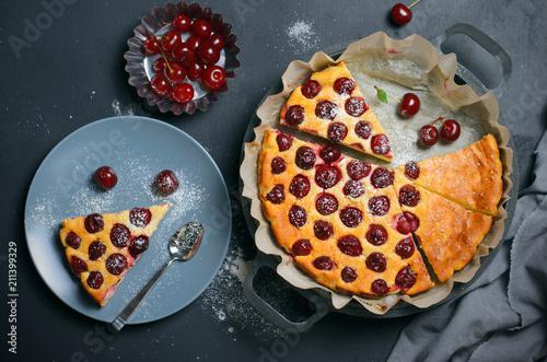 Cottage Cheese Cherry Pie, Homemade Cherry Pie on Grey Background Wallpaper Mural