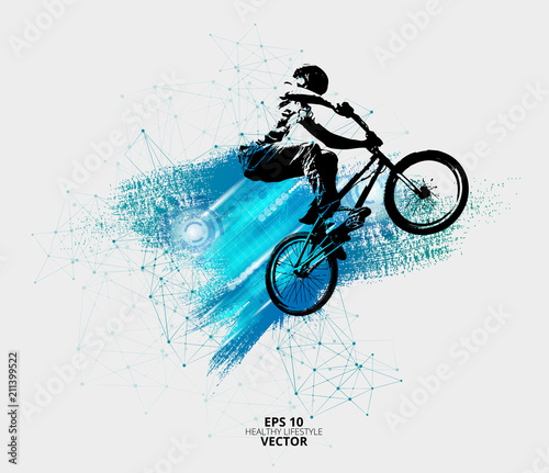 Young male bicycle jumper. Healthy lifestyle. Vector Fototapete