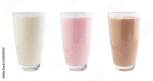 Strawberry, chocolate and fresh milk in a glass isolated on white