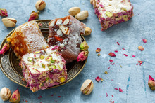 Turkish Delight With Pistachios, Pink Petals And Almonds.