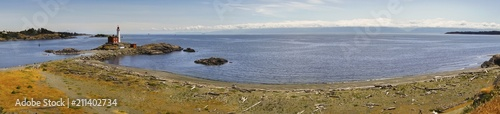 Wide Panoramic Landscape Scenic View of Isolated Fisgard Lighthouse and Distant фототапет