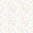 Seamless doodle texture with food products, fruit, vegetables. The sample is included in vector file. Transparent background.