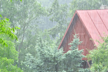 Cold Rainy Weather In Summer On Holiday Cottage