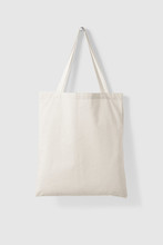 Blank Tote Canvas Bag Mockup Hanging On A Wall. High Resolution.