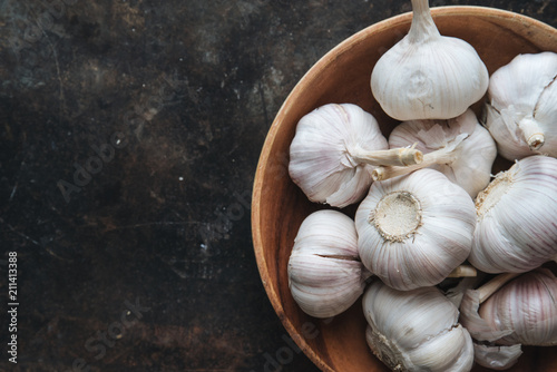Garlic bulb with rustic background Canvas Print