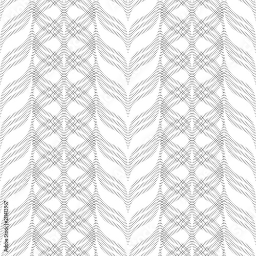 Fotografiet  Wavy stripes, floral ornament, geometric seamless pattern, texture