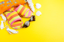 Striped Slippers, Shells, Sunglasses